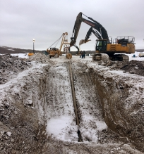Michels Canada performed an emergency horizontal directional drill (HDD) of 469 metres. The project was a 5-string bundle of 4-inch, 8-inch and three 12-inch pipes.