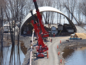 Michels installed 2,273 metres of 20- inch steel pipe through solid rock under the St. Lawrence Seaway.