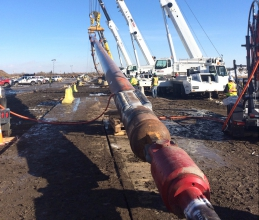 Michels drilled a 966-metre, 36-inch hole under the North Saskatchewan River to simultaneously install a 24-inch welded steel pipeline segment and two strands of 1 1/4-inch polyethylene conduit containing fiber optic cables.
